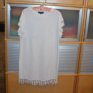 Lea & Viola white dress with fringes